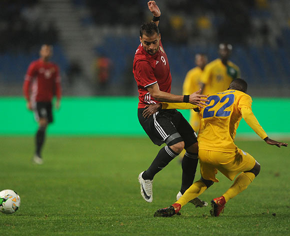Abdelsalam Faraj Alaqoub of Libya is tackled by Soter Kayumba of Rwanda    during the CHAN Group C match between Rwanda and Libya on 23 January 2018 at Grand Stade de Tanger, Tanger Morocco Pic Sydney Mahlangu/BackpagePix