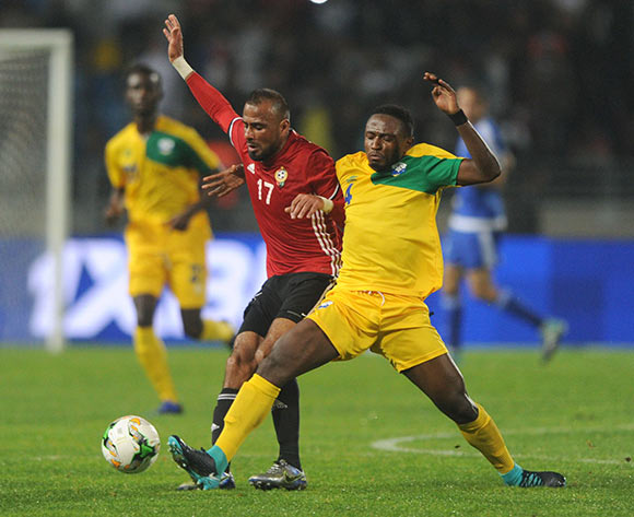Yannick Mukunzi of Rwanda challenges Ramadhan Khalleefah Abdulrhman of Libya during the CHAN Group C match between Rwanda and Libya on 23 January 2018 at Grand Stade de Tanger, Tanger Morocco Pic Sydney Mahlangu/BackpagePix