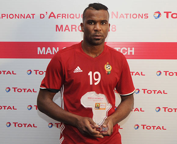 Elmutasem Ywsef Abushnaf of Libya awarded TOTAL man of the match  during the CHAN Group C match between Rwanda and Libya on 23 January 2018 at Grand Stade de Tanger, Tanger Morocco Pic Sydney Mahlangu/BackpagePix