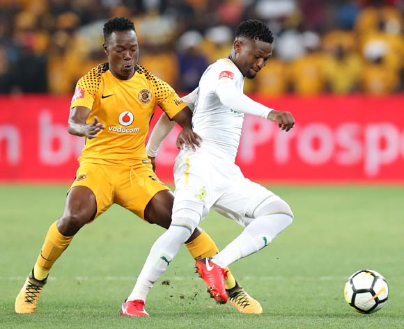 Motjeka Madisa of Mamelodi Sundowns challenged by Philani Zulu of Kaizer Chiefs during the Absa Premiership 2017/18 match between Kaizer Chiefs and Mamelodi Sundowns at FNB Stadium, Johannesburg South Africa on 27 January 2018 ©Muzi Ntombela/BackpagePix