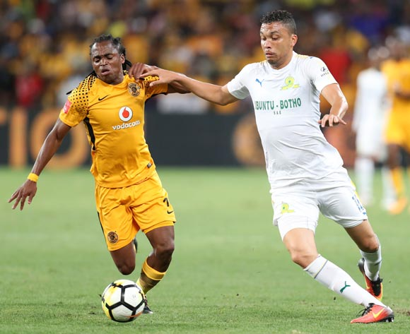 Ricardo Nascimento of Mamelodi Sundowns challenged by Siphiwe Tshabalala of Kaizer Chiefs during the Absa Premiership 2017/18 match between Kaizer Chiefs and Mamelodi Sundowns at FNB Stadium, Johannesburg South Africa on 27 January 2018 ©Muzi Ntombela/BackpagePix