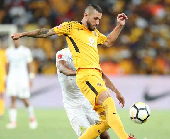 Daniel Cardoso of Kaizer Chiefs challenged by Sibusiso Vilakazi of Mamelodi Sundowns during the Absa Premiership 2017/18 match between Kaizer Chiefs and Mamelodi Sundowns at FNB Stadium, Johannesburg South Africa on 27 January 2018 ©Muzi Ntombela/BackpagePix