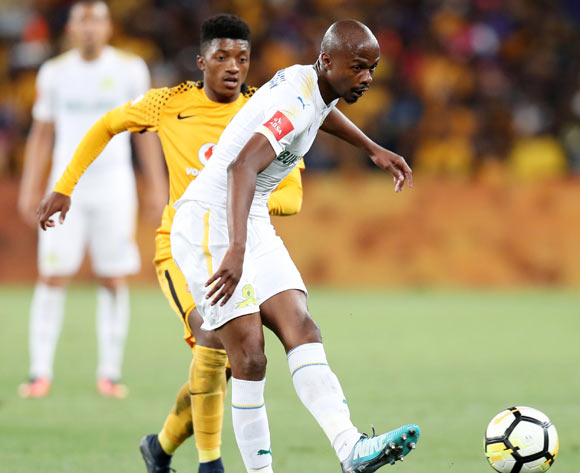 Tebogo Langerman of Mamelodi Sundowns challenged by Dumisani Zuma of Kaizer Chiefs during the Absa Premiership 2017/18 match between Kaizer Chiefs and Mamelodi Sundowns at FNB Stadium, Johannesburg South Africa on 27 January 2018 ©Muzi Ntombela/BackpagePix