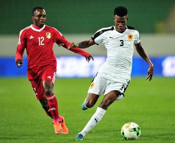 Estevao Manuel Quitocota De Paizo of Angola  is challenged by  Junior Makiesse Mouzita of Congo during the 2018 Chan game between Congo and Angola at Le Grand Stade Agadir in Agadir, Morocco on 24 January 2018 © Ryan Wilkisky/BackpagePix