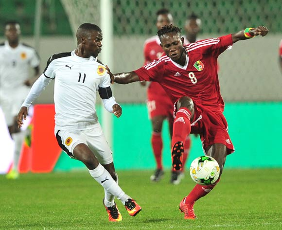 Junior Amour Ngouala of Congo is challenged by Ricardo Job Estevaov of Angola during the 2018 Chan game between Congo and Angola at Le Grand Stade Agadir in Agadir, Morocco on 24 January 2018 © Ryan Wilkisky/BackpagePix