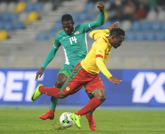 Alphonse Marie Tientcheu of Cameroonis crackled by Yaya Sanou of Burkina Faso during the CHAN Group D match between Burkina Faso and Cameroon on 24 January 2018 at Grand Stade de Tanger, Tanger Morocco Pic Sydney Mahlangu/BackpagePix