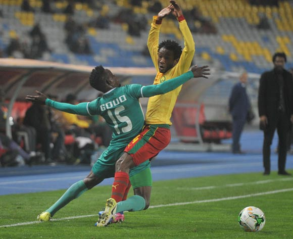 Ngoundo Kouoh Bille of Cameroon challenges Severin Traore of Burkina Faso during the CHAN Group D match between Burkina Faso and Cameroon on 24 January 2018 at Grand Stade de Tanger, Tanger Morocco Pic Sydney Mahlangu/BackpagePix