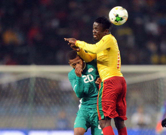 Willy Namedji of Cameroon challenges Nathanio Kompaore of Burkina Faso during the CHAN Group D match between Burkina Faso and Cameroon on 24 January 2018 at Grand Stade de Tanger, Tanger Morocco Pic Sydney Mahlangu/BackpagePix