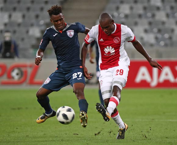 Tercious Malepe of Ajax Cape Town challenged by Harris Tchilimbou of Free State Stars during the Absa Premiership 2017/18 football match between Ajax Cape Town and Free State Stars at Cape Town Stadium, Cape Town on 26 January 2018 ©Chris Ricco/BackpagePix