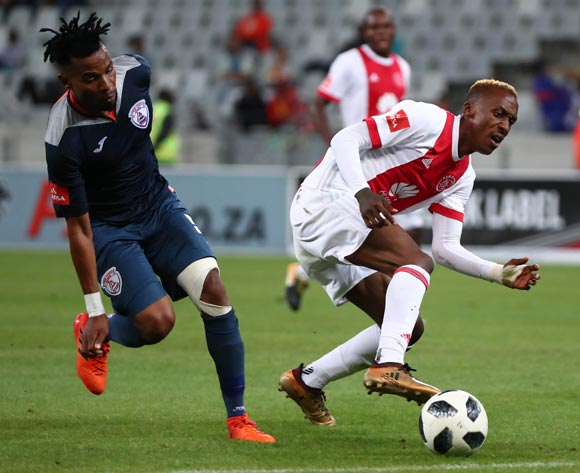 Yannick Zakri of Ajax Cape Town gets away from Nhlanhla Vilakazi of Free State Stars during the Absa Premiership 2017/18 football match between Ajax Cape Town and Free State Stars at Cape Town Stadium, Cape Town on 26 January 2018 ©Chris Ricco/BackpagePix