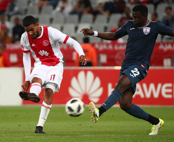 Tashreeq Morris of Ajax Cape Town challenged by Bangaly Keita of Free State Stars during the Absa Premiership 2017/18 football match between Ajax Cape Town and Free State Stars at Cape Town Stadium, Cape Town on 26 January 2018 ©Chris Ricco/BackpagePix