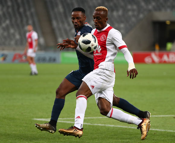 Yannick Zakri of Ajax Cape Town challenged by Sinethemba Jantjie of Free State Stars during the Absa Premiership 2017/18 football match between Ajax Cape Town and Free State Stars at Cape Town Stadium, Cape Town on 26 January 2018 ©Chris Ricco/BackpagePix
