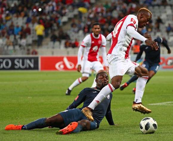 Yannick Zakri of Ajax Cape Town challenged by Rooi Mahamutsa of Free State Stars during the Absa Premiership 2017/18 football match between Ajax Cape Town and Free State Stars at Cape Town Stadium, Cape Town on 26 January 2018 ©Chris Ricco/BackpagePix