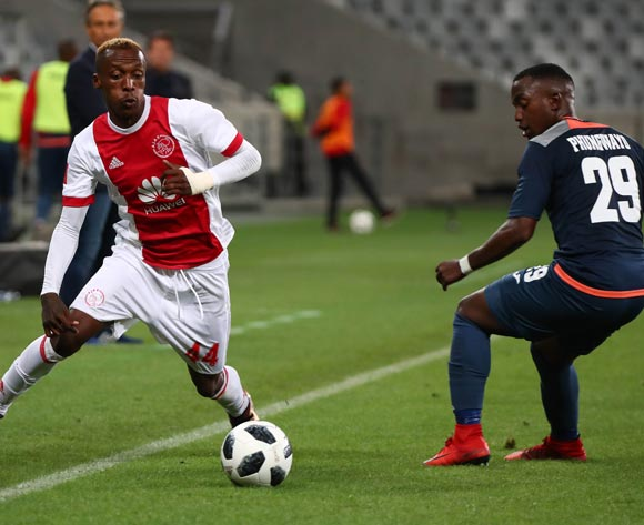 Yannick Zakri of Ajax Cape Town and Patrick Phungwayo of Free State Stars during the Absa Premiership 2017/18 football match between Ajax Cape Town and Free State Stars at Cape Town Stadium, Cape Town on 26 January 2018 ©Chris Ricco/BackpagePix