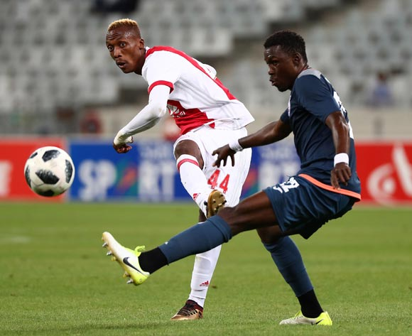 Yannick Zakri of Ajax Cape Town evades challenge from Bangaly Keita of Free State Stars during the Absa Premiership 2017/18 football match between Ajax Cape Town and Free State Stars at Cape Town Stadium, Cape Town on 26 January 2018 ©Chris Ricco/BackpagePix