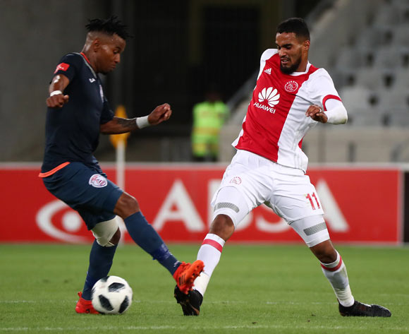 Tashreeq Morris of Ajax Cape Town battles for the ball with Nhlanhla Vilakazi of Free State Stars during the Absa Premiership 2017/18 football match between Ajax Cape Town and Free State Stars at Cape Town Stadium, Cape Town on 26 January 2018 ©Chris Ricco/BackpagePix