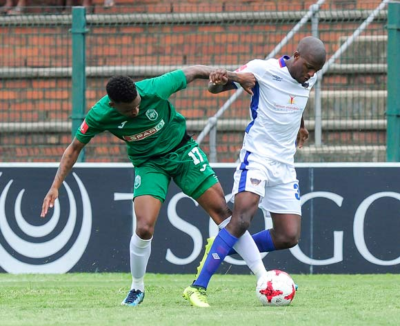 Mbongeni Gumede of AmaZulu FC and Xolani Maholo of Chippa United F.C. fight for possession of the ball during the Absa Premiership 2017/18 game between AmaZulu and Chippa United at King Zwelithini Stadium, Durban on 7 January 2018 © Gerhard Duraan/BackpagePix