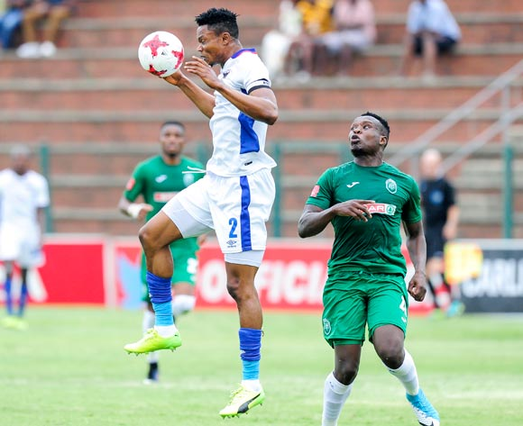 James Okwousa, Captain of Chippa United F.C. headers the ball from Rhulani Manzini of Amazulu  during the Absa Premiership 2017/18 game between AmaZulu and Chippa United at King Zwelithini Stadium, Durban on 7 January 2018 © Gerhard Duraan/BackpagePix