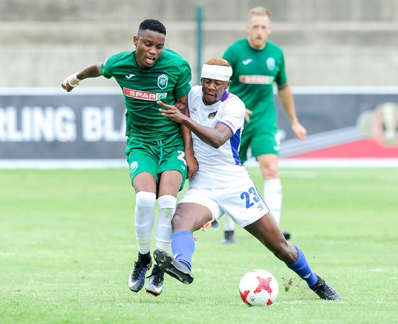 Linda Mntambo of Chippa United F.C. pushes into Ovidy Karuru of AmaZulu FC to prevent him from playing the ballduring the Absa Premiership 2017/18 game between AmaZulu and Chippa United at King Zwelithini Stadium, Durban on 7 January 2018 © Gerhard Duraan/BackpagePix