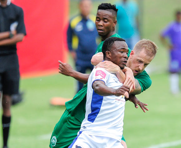 Its a fierce battle for the ball between Paseka Mako of Chippa United F.C. and Michael Morton of AmaZulu FC during the Absa Premiership 2017/18 game between AmaZulu and Chippa United at King Zwelithini Stadium, Durban on 7 January 2018 © Gerhard Duraan/BackpagePix