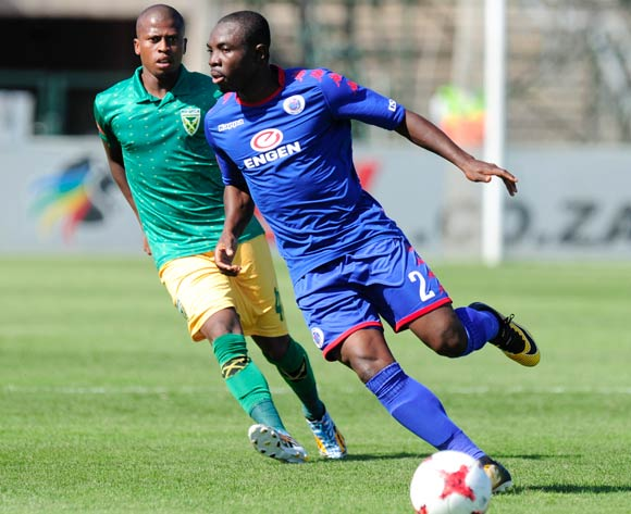 Richard Boating of Supersport United and Danny Venter of Golden Arrows during the Absa Premiership 2017/18 game between Golden Arrows and Supersport United  at Princess Magogo Stadium, KwaZulu-Natal on 14 January 2018 © Gerhard Duraan/BackpagePix