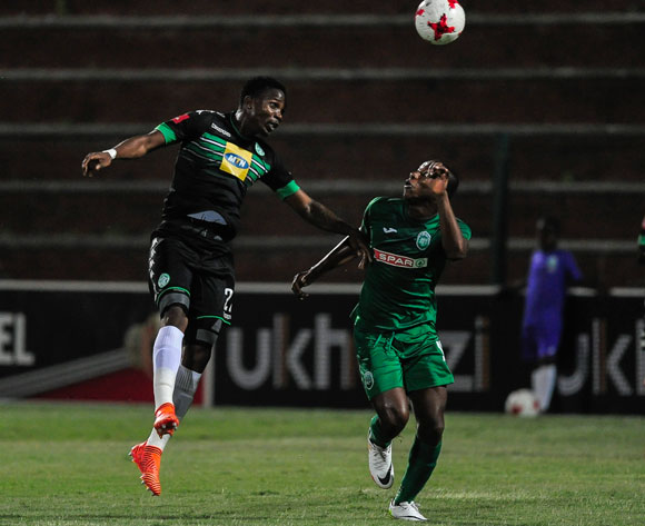 Tsepho Rikhotso of Bloemfontein Celtic plays the ball over the head of Given Mashikinya of AmaZulu FC during the Absa Premiership 2017/18 match between AmaZulu FC and Bloemfontein Celtic at King Zwelithini Stadium, Kwazulu Natal South Africa on 24 January 2018 ©Gerhard Duraan/BackpagePix
