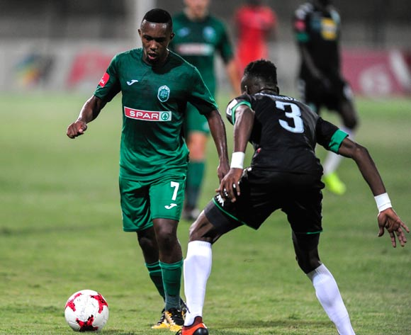 Ronald Pfumbidzai of Bloemfontein Celtic challenges Augustine Ramphele of AmaZulu FC during the Absa Premiership 2017/18 match between AmaZulu FC and SuperSport United at King Zwelithini Stadium, Kwazulu Natal South Africa on 20 January 2018 ©Gerhard Duraan/BackpagePix