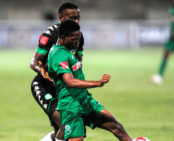 Sibusiso Mabiliso of AmaZulu FC  is challenged by Victor Letsoalo of Bloemfontein Celtic during the Absa Premiership 2017/18 match between AmaZulu FC and SuperSport United at King Zwelithini Stadium, Kwazulu Natal South Africa on 20 January 2018 ©Gerhard Duraan/BackpagePix