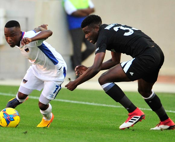 Paseka Mako of Chippa United and Marshall Munetsi of Pirates  during the Absa Premiership 2017/18 match between Chippa United and Orlando Pirates at Nelson Mandela Bay Stadium, Port Elizabeth South Africa on 25 February 2018 ©/BackpagePix
