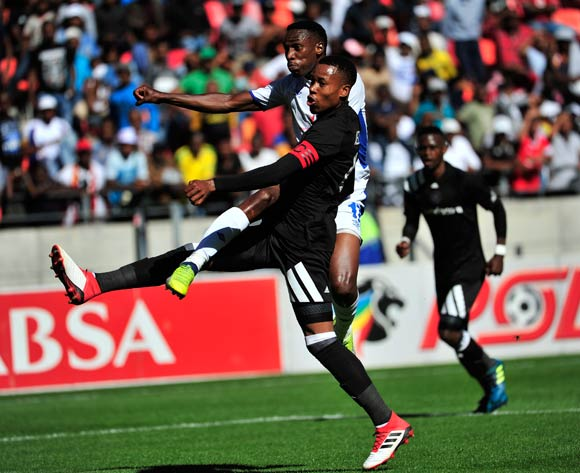 Mxolisi Macuphu of Chippa United scores while Happy Queenton Jele of Orlando Pirates attempted to stop him during the Absa Premiership 2017/18 match between Chippa United and Orlando Pirates at Nelson Mandela Bay Stadium, Port Elizabeth South Africa on 25 February 2018 ©/BackpagePix