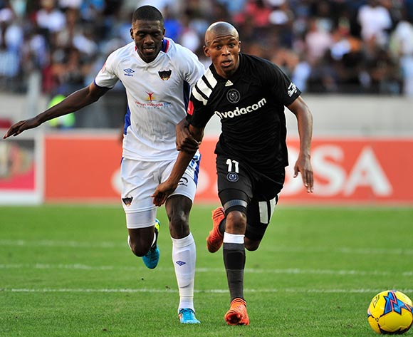 Abel Mabaso of Chippa United and Luvuyo Memela of Orlando Pirates during the Absa Premiership 2017/18 match between Chippa United and Orlando Pirates at Nelson Mandela Bay Stadium, Port Elizabeth South Africa on 25 February 2018 ©/BackpagePix