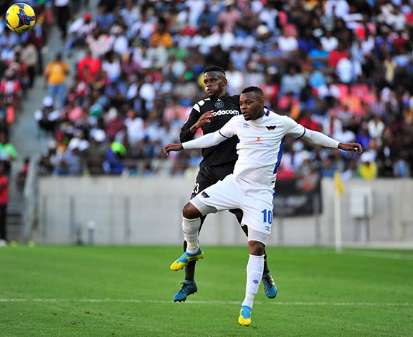 Innocent Maela of Orlando Pirates and Andile Mbenyane of Chippa United during the Absa Premiership 2017/18 match between Chippa United and Orlando Pirates at Nelson Mandela Bay Stadium, Port Elizabeth South Africa on 25 February 2018 ©/BackpagePix