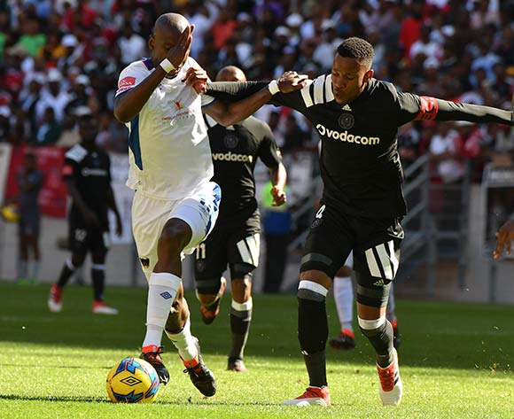 Mark Mayambela of Chippa United and Happy Queenton Jele of Orlando Pirates during the Absa Premiership 2017/18 match between Chippa United and Orlando Pirates at Nelson Mandela Bay Stadium, Port Elizabeth South Africa on 25 February 2018 ©/BackpagePix