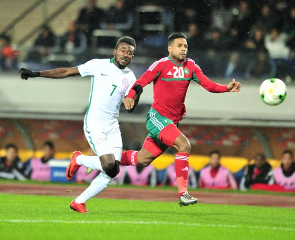 Abdeljalil Jbira of Morocco challenged by Chukwudiebube Emeka Ogbugh of Nigeria during the 2018 CHAN Final football match between Morocco and Nigeria at Stade Mohamed V in Casablanca, Morocco on 04 February 2018 ©Samuel Shivambu/BackpagePix