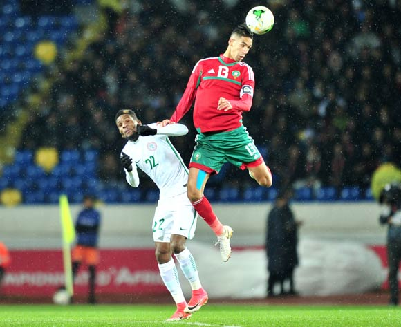 Badr Benoun of Morocco challenged by Okechukwu Gabriel of Nigeria during the 2018 CHAN Final football match between Morocco and Nigeria at Stade Mohamed V in Casablanca, Morocco on 04 February 2018 ©Samuel Shivambu/BackpagePix