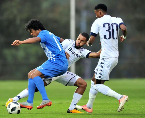 Joseph Stephan Kevin Perticots of Pamplemousses challenged by Reeve Frosler of Bidvest Wits during the 2018 CAF Champions League football match between Bidvest Wits and Pamplemousses at Bidvest Stadium, Johannesburg on 10 February 2018 ©Samuel Shivambu/BackpagePix