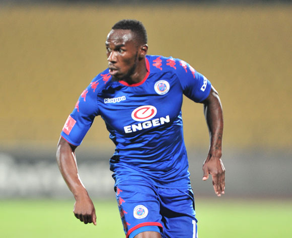 Onismor Bhasera of Supersport United during the Absa Premiership 2017/18 match between Platinum Stars and Supersport United at Royal Bafokeng Stadium, Rustenburg on 20 February 2018 ©Samuel Shivambu/BackpagePix
