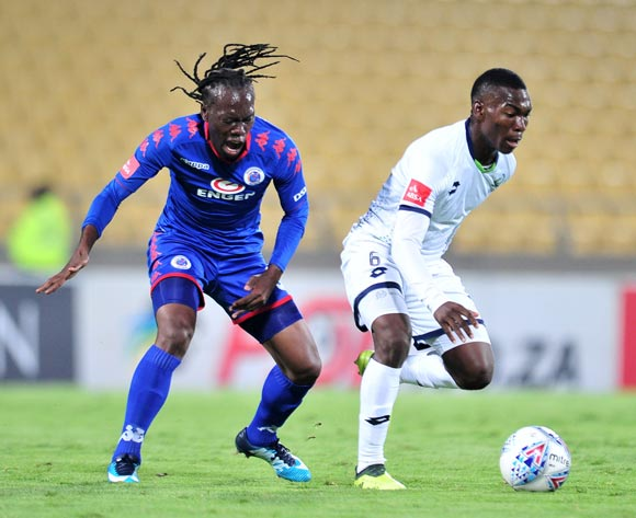Charles Baloyi of Platinum Stars challenged by Reneilwe Letsholonyane of Supersport United during the Absa Premiership 2017/18 match between Platinum Stars and Supersport United at Royal Bafokeng Stadium, Rustenburg on 20 February 2018 ©Samuel Shivambu/BackpagePix