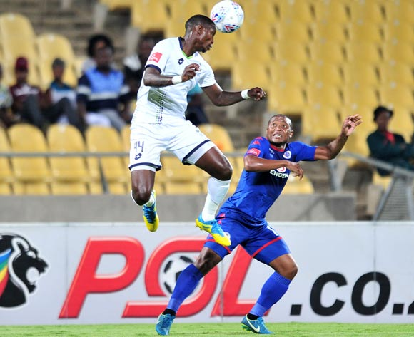 Thuso Phala of Supersport United challenged by Ayanda Gcaba of Platinum Stars during the Absa Premiership 2017/18 match between Platinum Stars and Supersport United at Royal Bafokeng Stadium, Rustenburg on 20 February 2018 ©Samuel Shivambu/BackpagePix