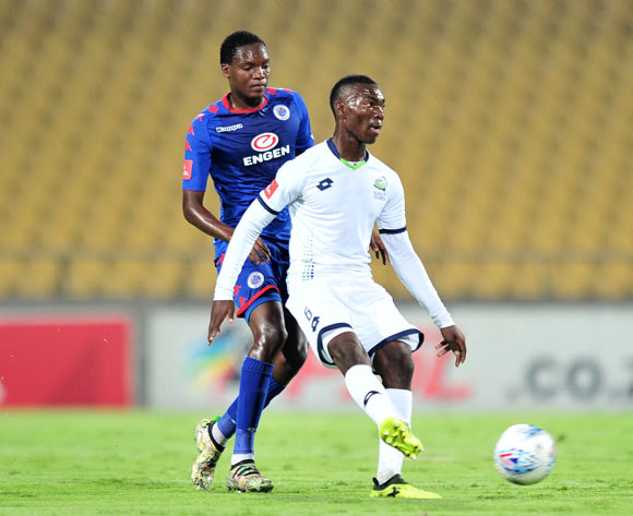 Charles Baloyi of Platinum Stars challenged by Mogakolodi Ngele of Supersport United during the Absa Premiership 2017/18 match between Platinum Stars and Supersport United at Royal Bafokeng Stadium, Rustenburg on 20 February 2018 ©Samuel Shivambu/BackpagePix