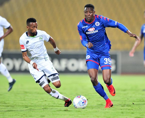 Evans Rusike of Supersport United challenged by Molemo Mekoa of Platinum Stars during the Absa Premiership 2017/18 match between Platinum Stars and Supersport United at Royal Bafokeng Stadium, Rustenburg on 20 February 2018 ©Samuel Shivambu/BackpagePix