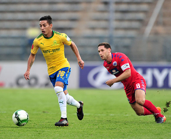Gaston Sirino of Mamelodi Sundowns challenged by Dean Furman of Supersport United during the Absa Premiership 2017/18 match between Mamelodi Sundowns and Supersport United at Lucas Moripe Stadium, Pretoria on 2 February 2018 ©Samuel Shivambu/BackpagePix