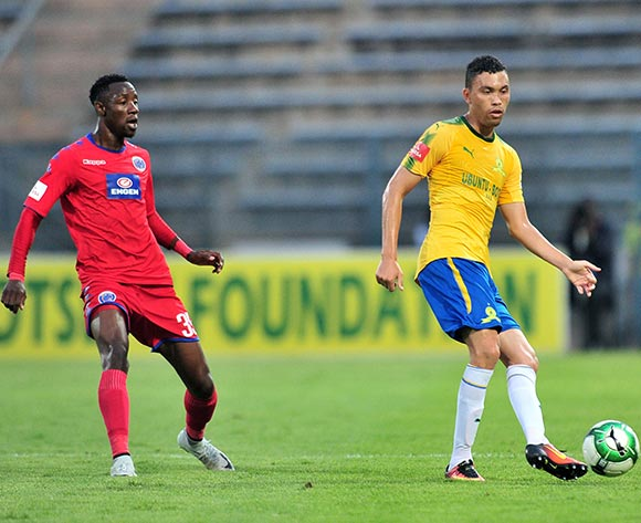 Ricardo Nascimento of Mamelodi Sundowns challenged by Evans Rusike of Supersport United during the Absa Premiership 2017/18 match between Mamelodi Sundowns and Supersport United at Lucas Moripe Stadium, Pretoria on 2 February 2018 ©Samuel Shivambu/BackpagePix