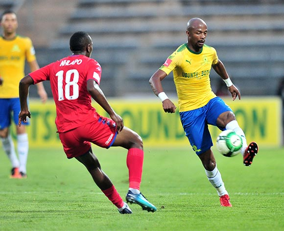Tebogo Langerman of Mamelodi Sundowns challenged by Siyabonga Nhlapo of Supersport United during the Absa Premiership 2017/18 match between Mamelodi Sundowns and Supersport United at Lucas Moripe Stadium, Pretoria on 2 February 2018 ©Samuel Shivambu/BackpagePix