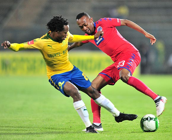 Thabo Mnyamane of Supersport United challenged by Percy Tau of Mamelodi Sundowns during the Absa Premiership 2017/18 match between Mamelodi Sundowns and Supersport United at Lucas Moripe Stadium, Pretoria on 2 February 2018 ©Samuel Shivambu/BackpagePix