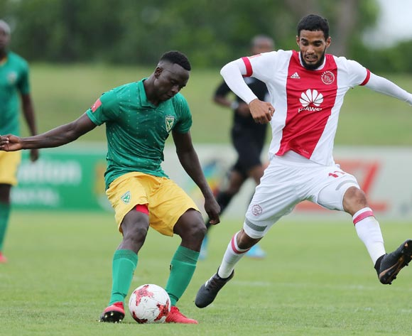 Tashreeq Morris of Ajax Cape Town and Zolani Nkombelo of Golden Arrows during the Absa Premiership 2017/18 match between Golden Arrows and Ajax Cape Town at Princess Magogo Stadium, Durban South Africa on 25 February 2018 ©/BackpagePix