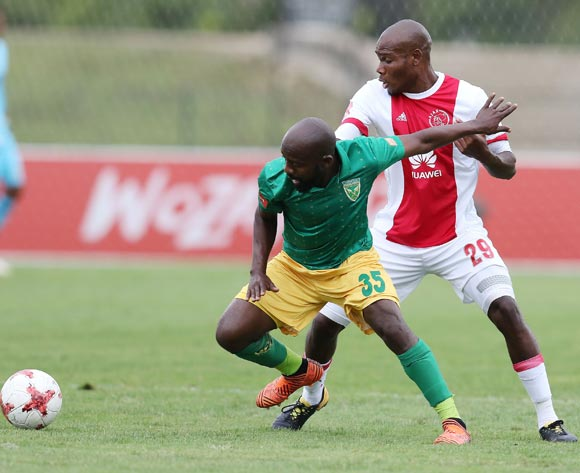 Sandile Zuke of Golden Arrows and Tercious Malepe of Ajax Cape Town during the Absa Premiership 2017/18 match between Golden Arrows and Ajax Cape Town at Princess Magogo Stadium, Durban South Africa on 25 February 2018 ©/BackpagePix