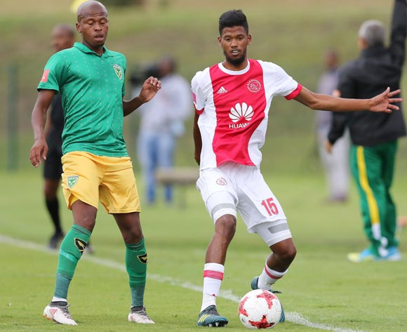 Danny Venter of Golden Arrows and Yagan Sasman of Ajax Cape Town during the Absa Premiership 2017/18 match between Golden Arrows and Ajax Cape Town at Princess Magogo Stadium, Durban South Africa on 25 February 2018 ©/BackpagePix