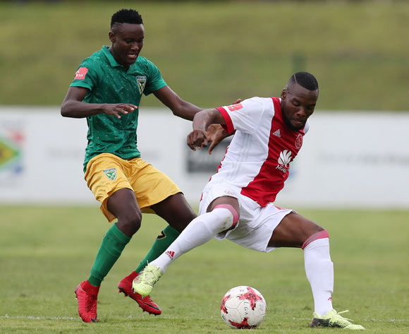 Limbikani Mzava of Golden Arrows and Siyanda Zwane of Ajax Cape Town during the Absa Premiership 2017/18 match between Golden Arrows and Ajax Cape Town at Princess Magogo Stadium, Durban South Africa on 25 February 2018 ©/BackpagePix