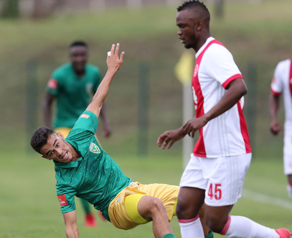 Siboniso Gaxa of Ajax Cape Town and Yusuf Jappie of Golden Arrows during the Absa Premiership 2017/18 match between Golden Arrows and Ajax Cape Town at Princess Magogo Stadium, Durban South Africa on 25 February 2018 ©/BackpagePix